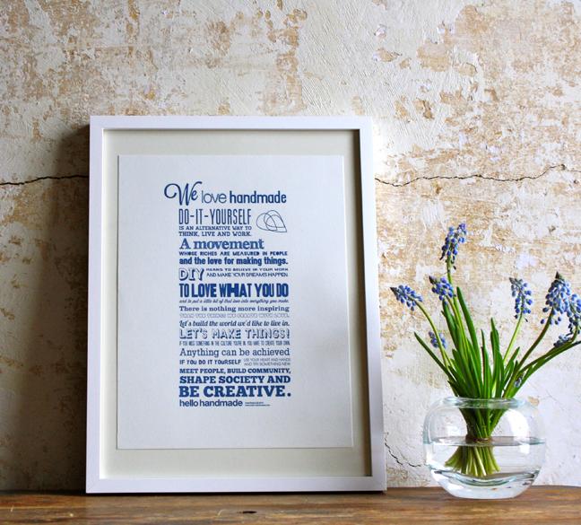 We love Handmade - Druck Blau