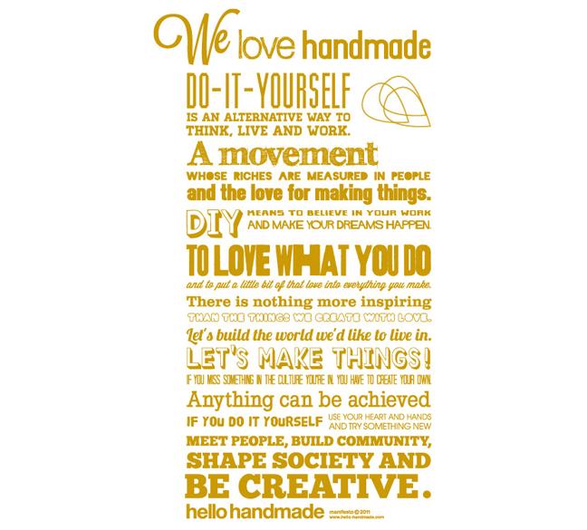 We love Handmade - Druck Gelb