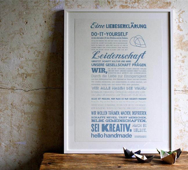 Handmade Liebeserklärung - Blau